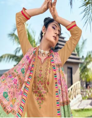 light brown top - jam silk with embroidery work | bottom - cotton soild | dupatta - chinon seq work with beautiful digital print fabric embroidery work + digital printed work ethnic
