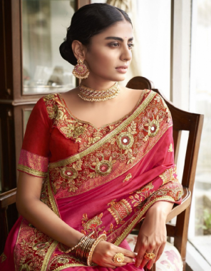 pink silk fabric embroidery work party wear