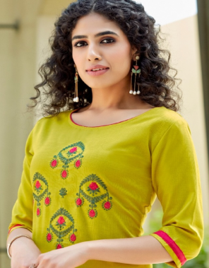 yellow rubby silk with embroidery work  fabric embroidery work ethnic