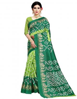 green art silk fabric bandhani printed work running