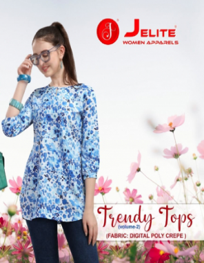 blue polyester fabric digital printed work party wear