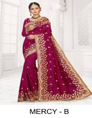 dark pink p c vichitra silk  fabric embroidery work casual