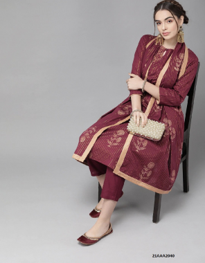 maroon cotton fabric printed work party wear