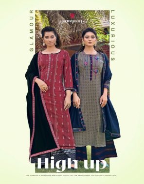 maroon top - south cotton straight kurti with embroidery  fancy work   plazzo - south cotton weaving plaazo   dupatta - cotton dupatta with four side lace work fabric embroidery work festive