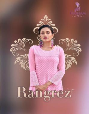 pink top - georgette with chikan work anarakali kurti   inner - heavy crep fabric chikan work work casual