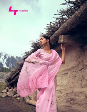 pink organza silk fabric printed work casual