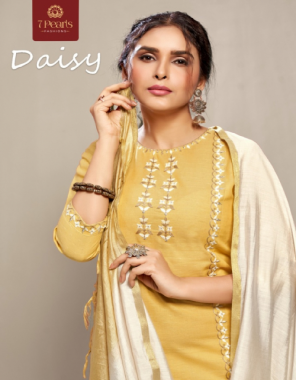 yellow kurti - 100 % cotton with embroidery work and other trims   pants - heavy cotton with dupatta  fabric embroidery work casual