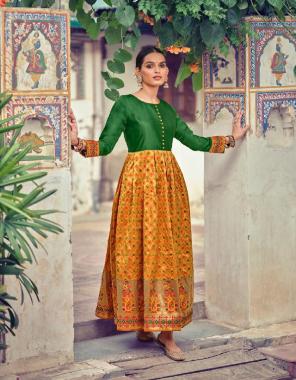 yellow heavy lichi minakari jacquard fabric jacquard work casual