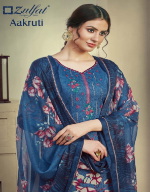 blue top - 100 % pure cotton digital printed with heavy fancy embroidery work ( 2.50 m)   dupatta - pure nazneen dupatta with 4 side lace ( 2.30 m)   bottom - pure cotton salwar ( 3 m) fabric printed work casual
