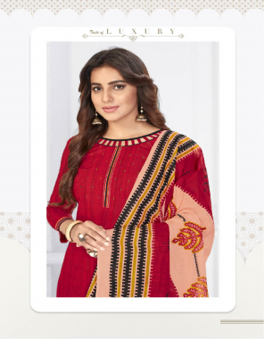 red cotton | top - 2.50 m | bottom - 2.0 m | dupatta - 2.25 m fabric printed work ethnic
