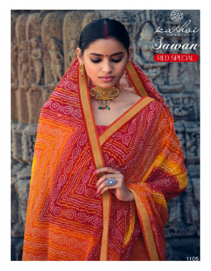 red chiffon  fabric bandhani printed  work casual