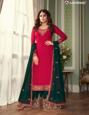 pink top - real georgette with silk santton inner   bottom - real georgette free size stitch with silk santoon inner   dupatta - real georgette  fabric embroidery work party wear