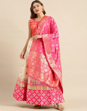 white banglory & banarasi silk fabric jacquard + weaving work casual