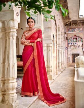 dark pink georgette  fabric sequance work ethnic