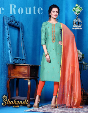 sky blue top - heavy modal fabric with heavy work with pure banarasi dupatta  fabric embroidery  work casual