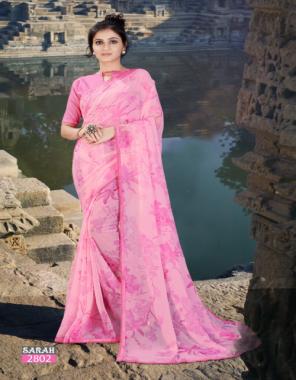 baby pink chiffon fabric printed work casual