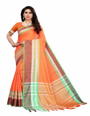 orange linen cotton fabric weaving work ethnic