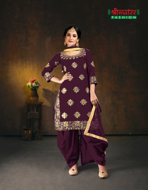 wine silk [ master copy ] fabric embroidery + atteched mirror work work casual
