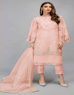 peach top - organza with embroidery work   bottom - santoon   inner - santoon   dupatta - organza chex with embroidery work [ pakistani copy ] fabric embroidery work casual