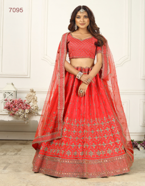 red satin silk fabric embroidery work casual