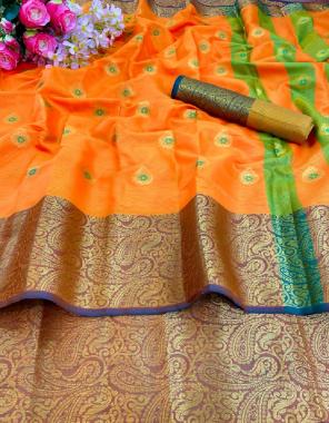 orange pure cotton silk fabric jacquard + weaving work ethnic