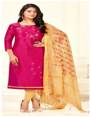 pink cotton | top - long slub ( cotton ) | bottom - cotton | dupatta - chanderi with work  fabric embroidery work ethnic