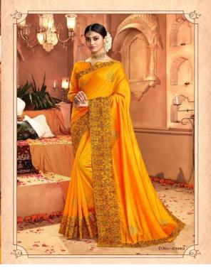 orange vichitra silk fabric embroidery work runnning