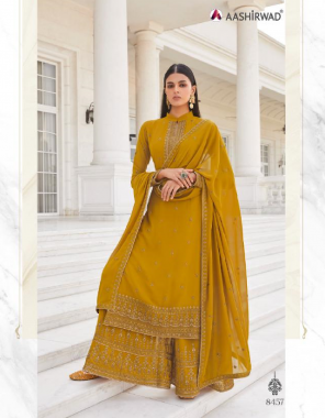 yellow top - real georgette with silk santoon inner |bottom - real georgette free size stitch free size stitch with silk santoon inner | dupatta - real georgette fabric heavy embroidery work casual