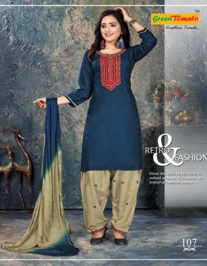 rama blue rayon fabric embroidery work festive