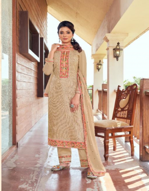 cream top - pure bemberg lucknowi work with multi colour embroidery nack and heavy cotton mal inner | bottom - heavy santoon with multi colour lace work | dupatta - pure muslin with 7mm sequance work and four side lace work fabric embroidery work ethnic