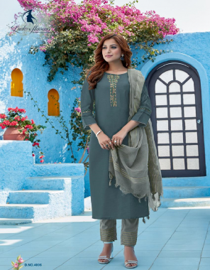 grey top - viscose silk with embroidery work with khatli work with full inner   bottom - heavy chinon   dupatta - pure fancy viscose  fabric embroidery work casual