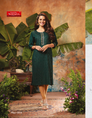 dark green rayon fabric sequance + embroidery work work casual