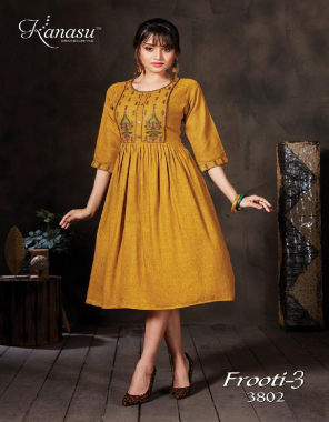 yellow rayon fabric embroidery work casual