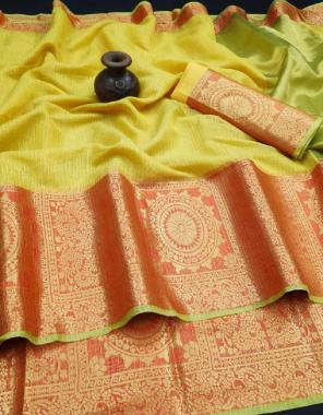 yellow silk fabric jacqurad + weaving work casual