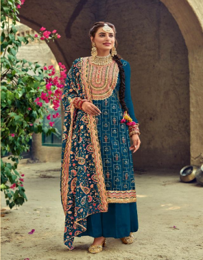 rama blue top - baluming georgette with heavy embroidery work | dupatta - baluming georgette with heavy embroidery work | bottom & inner - - dull santoon fabric heavy embroidery work ethnic