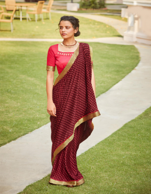 maroon georgette with heavy lace border fabric printed + lace  work festive