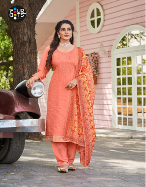 peach top - pure muslin weaving with 2mm sequance work and pure jacquard lace | bottom - dull santoon ( cut - 4.25 ) | dupatta - muslin 2mm sequance work with digital print fabric sequance work + digital print work casual