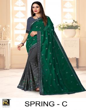 dark green vichitra silk fabric embroidery work ethnic