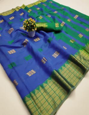 blue silk fabric jacqurad + weaving work festive