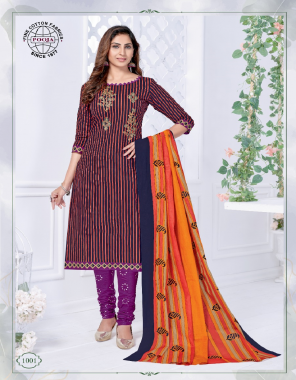 maroon pure cotton   top - 2.30 m   bottom - 2 m   dupatta - 2.25 m fabric embroidery + printed work casual