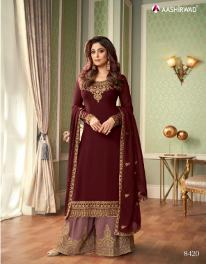 maroon top - real georgette with silk santoon inner | bottom - real georgette free size stitch with silk santoon inner | dupatta - real georgette  fabric embroidery work casual