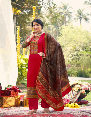 red top - pure lawn cotton print with heavy embroidery (2.50 m) | bottom - cotton solid dyed | dupatta - pure bember chhifon print bandhej style fabric embroidery work casual