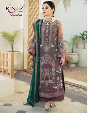 light brown top - foux georgette with heavy embroidery & diamond work   bottom inner - heavy dul santoon   dupatta - nazmin with heavy embroidery [ pakistani copy ] fabric heavy embroidery work festive