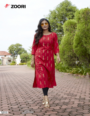 red rayon  fabric printed work casual