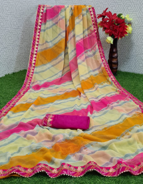 yellow georgette fabric printed work casual