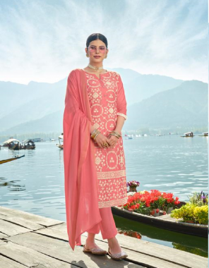 pink top - chanderi diable viscose with inner | bottom - heavy rayon | dupatta - chanderi diable viscose sequance work fabric lucknowi work work casual
