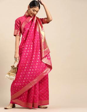 dark pink banarasi silk fabric jacquard + weaving  work casual