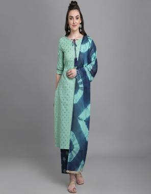light green top - 100 % cotton print   bottom - cotton print   dupatta - nazmin fabric gold foil print work casual