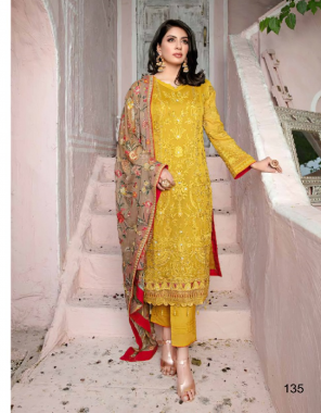 yellow top - georgette with heavy embroidery   bottom  inner - dul santoon   dupatta - chiffon with heavy embroidery [ pakistani copy ] fabric embroidery work casual
