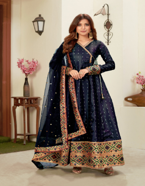 navy blue top - tapeta silk butti | dupatta - net with embroidery work and jacquard less fabric embroidery work casual